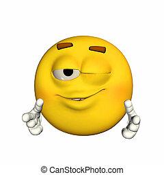 Winking Emoticon - Illustration of an emoticon winking ...