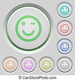 Winking emoticon push buttons