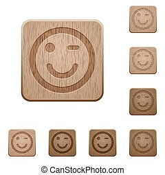 Winking emoticon wooden buttons