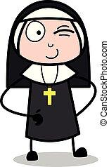 Winking Eye - Cartoon Nun Lady Vector Illustration?