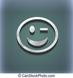 Winking Face icon symbol. 3D style. Trendy, modern design with space for your text . Raster