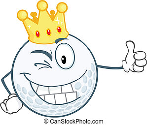 Winking Golf Ball With Gold Crown