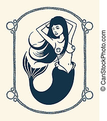 Winking mermaid illustration - Vintage vector illustration...