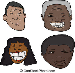 Winking People - Group of isolated Hispanic and African...