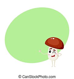 Winking porcini mushroom character with human face showing thumb up