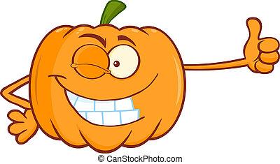 Winking Pumpkin Giving A Thumb Up