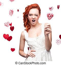 winking red woman holding lollipop