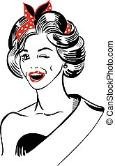Vector illustration of a hand-drawn retro female portrait of a model, miss with a ribbon, winking and smiling with red lipstick.
