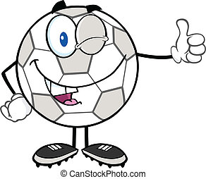 Winking Soccer Ball Character