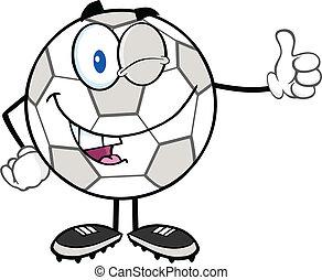 Winking Soccer Ball Character