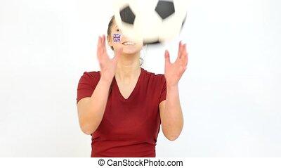 Winking Soccer British Fan Catching Ball - Young Girl Fan...