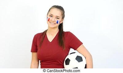 Winking Soccer Female with French Flag - Young Girl Fan...