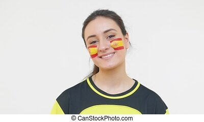 Winking Soccer Female with Spanish Flag - Young Girl Fan...