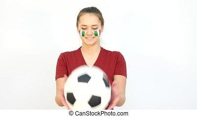 Winking Soccer Italian Fan Catching Ball - Young Girl Fan...