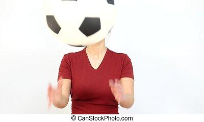 Winking Soccer Russian Fan Catching Ball - Young Girl Fan...