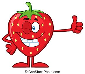 Winking Strawberry Fruit Cartoon Mascot Character Giving A Thumb Up