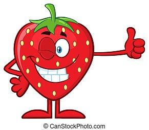 Winking Strawberry Fruit Cartoon Mascot Character Giving A Thumb Up