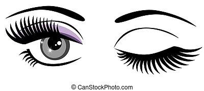 Winking - vector eyes winking