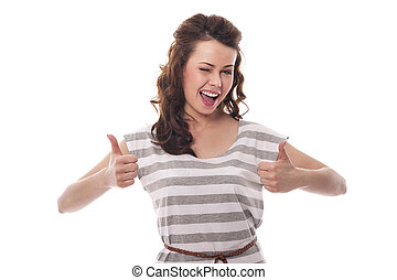 Winking woman showing OK sign