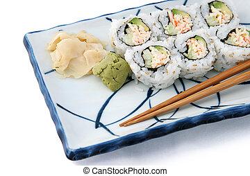 winklig, weißes, sushi- rolle