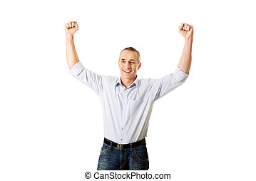 winnaar, armen op, middelbare leeftijd , verticaal, man