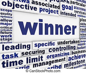 winnaar, conceptueel, boodschap, achtergrond