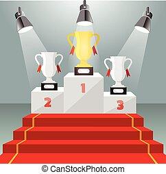 winnaar, goud, cup., verlicht