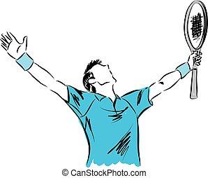 winnaar, tennis, illustratie, speler