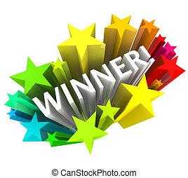 winnaar, -, woord, en, sterretjes, het exploderen, in,...