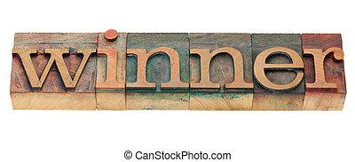 winnaar, woord, in, letterpress, type