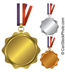 winnaars, drie, medailles