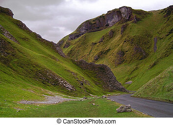 Winnats Pass in the Peak District, Derbyshire, England, UK.