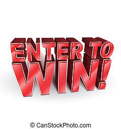 winnen, 3d, woorden, illustratie, binnengaan