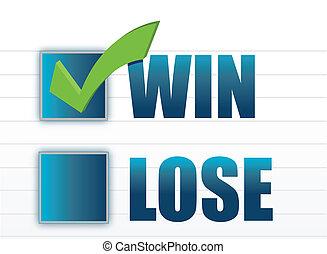 winnen, checkmark, vs, verliezen