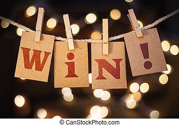winnen, concept, geknipte, kaarten, en, lichten