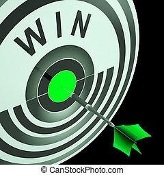 winnen, doel, middelen, triomfantelijk, kampioen, succes