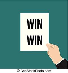 winnen, het tonen, papier, man, tekst