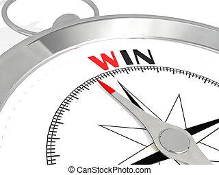 winnen, metalic, woord, kompas