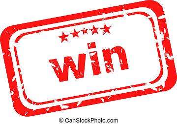 winnen, op, rood, rubberstempel, op, een, witte achtergrond