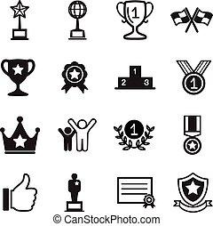 winnen, set, succes, iconen