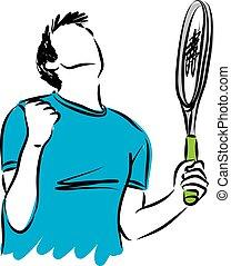 winnen, tennis, gebaar, illustratie, speler
