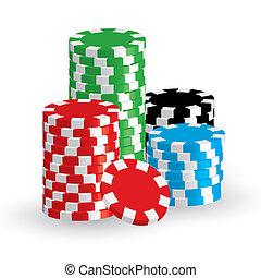 winnen, vector, frites, casino