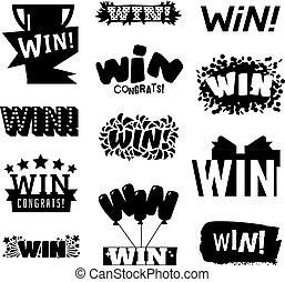 winnen, vector, illustratie, tekst