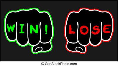 winnen, verliezen, hand