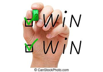 winnen, winnen, controleren, tekens