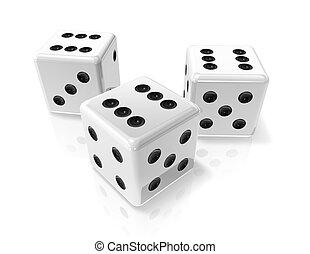 winnen, witte , drie, dobbelstenen