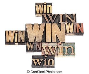 winnen, woord, abstract