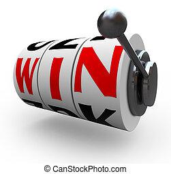 winnen, woord, op, gleuf machine, wielen, -,...