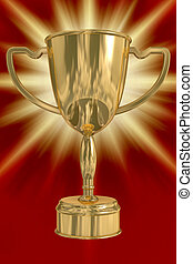 winner., 3d, image., taza de oro