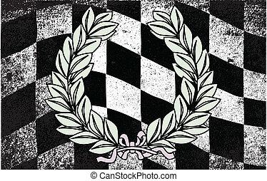 Winner - A dirty grunge fx chequered race flag with a winner...